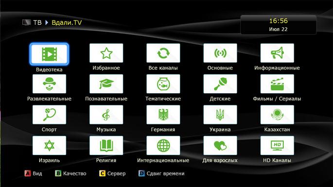 Откроется панель с пакетами телеканалов, разбитыми по категориям